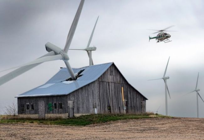 Rite On Wind Turbines fall onto old bard