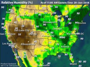 Humidity Map USA for Rite-ON! Coldest temperature