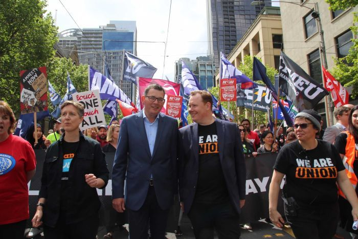 Labor Premier Daniel Andrews marching lock-step with the unions, Melbourne 2019