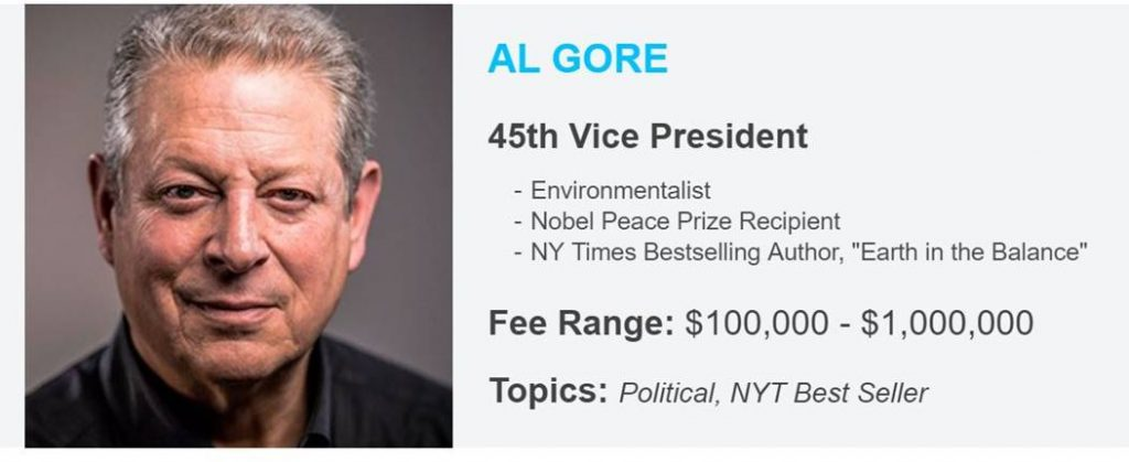 Al Gore's Fee from $100,00